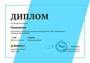 Лучшая франшиза детского языкового центра рейтинга «ТОП-500 франшиз» по версии портала БИБОСС